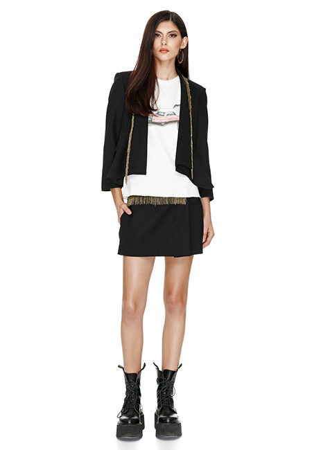 BLACK WOOL JACKET WITH BEADS TRIM
