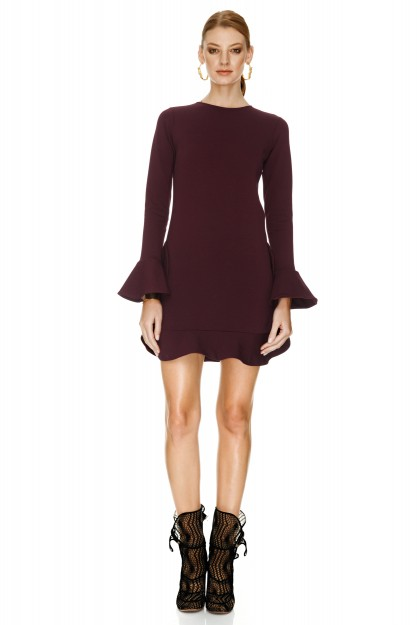 Burgundy Jersey Mini Dress