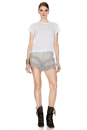 Grey Crocheted Lace Shorts - PNK Casual