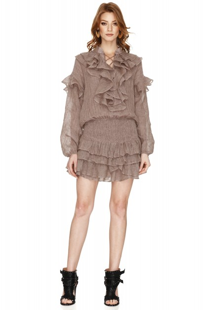 Beige Linen Ruffled Mini Dress