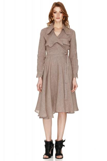 Beige Linen Wrap Midi Dress