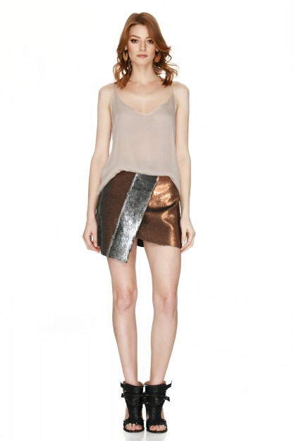 Silver And Copper Sequins Mini Skirt
