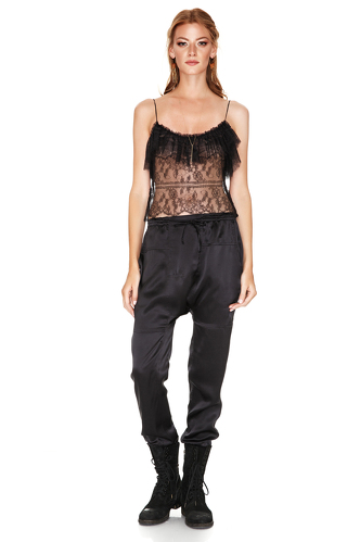 Black Chantilly Lace Top - PNK Casual