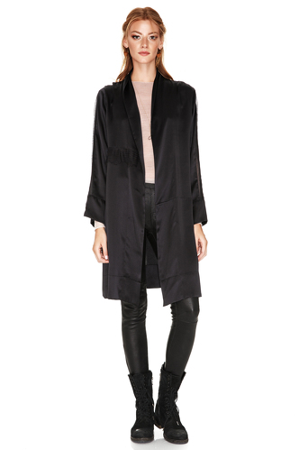 Black Silk Embroidered Jacket - PNK Casual