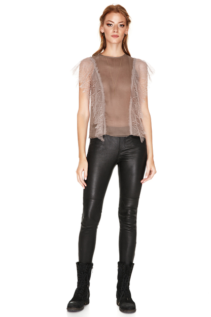 Light Brown Chantilly Lace Details Top