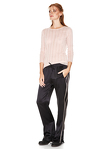 Black Silk Track Pants With Side Detail