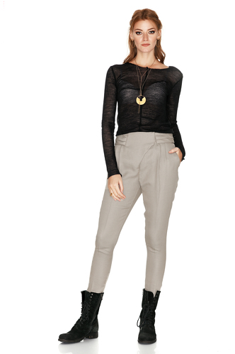 Beige Tapered Pants With Folded Detail - PNK Casual