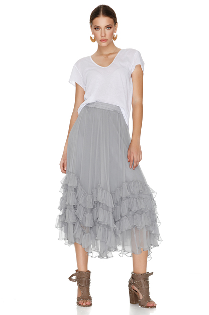 Grey Silk Chiffon Midi Skirt