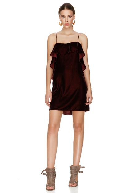 Burgundy Velvet Mini Dress