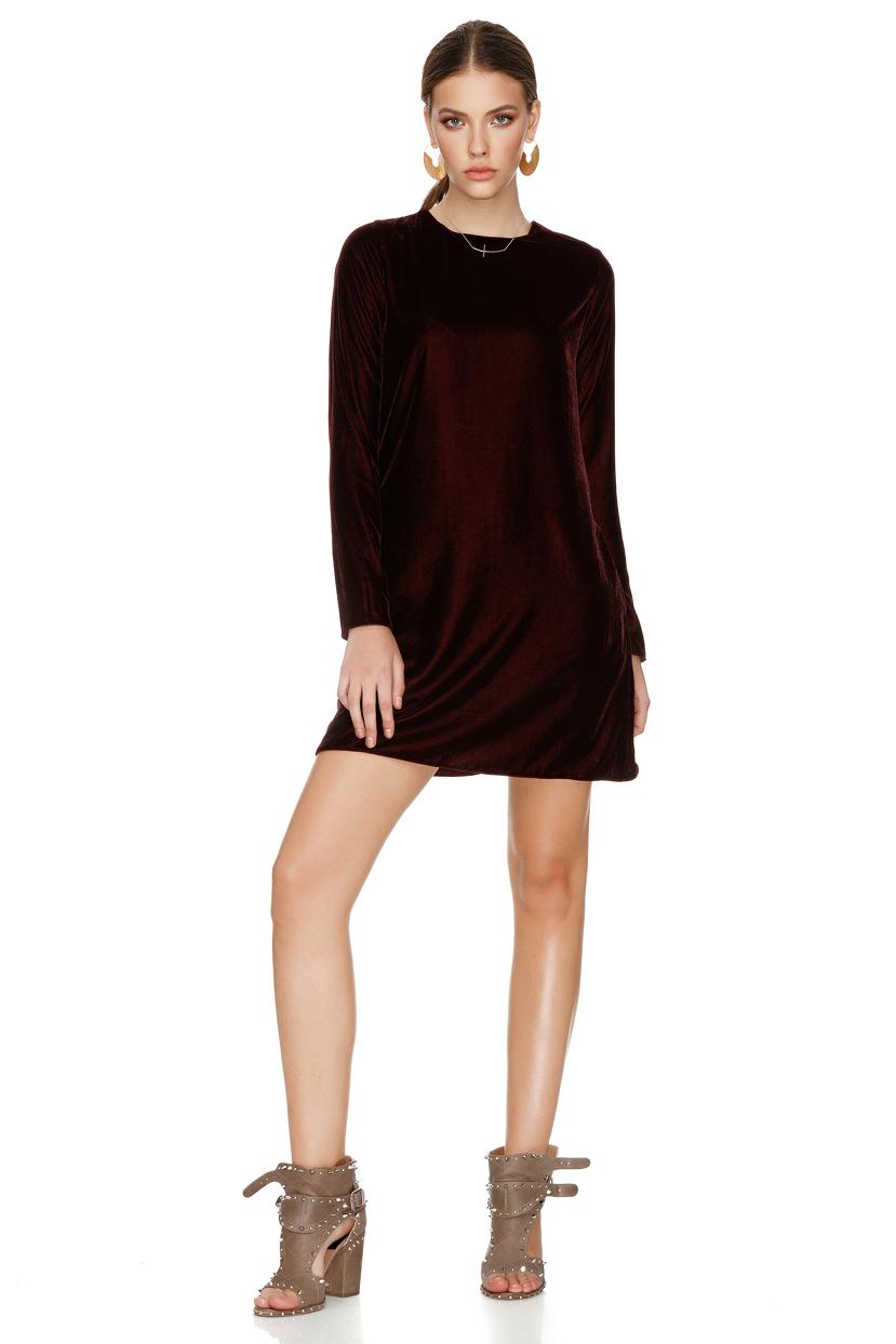 Burgundy Velvet Dress - PNK Casual