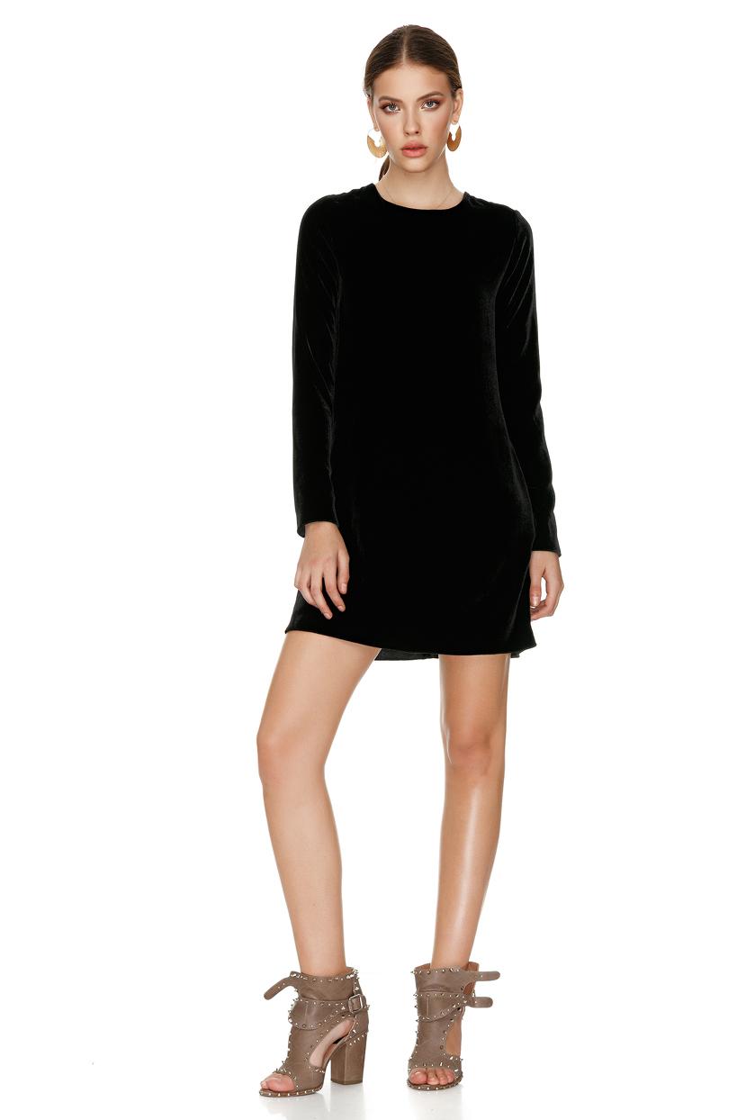 Black Velvet Mini Dress - PNK Casual