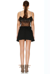 Black Mini Skirt With Folded Front Detail