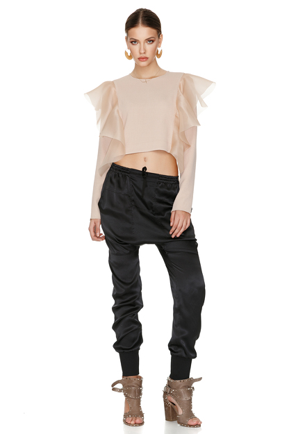 Rose Top With Silk Ruffles