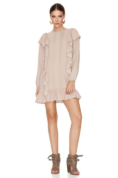 Rose Mini Dress With Ruffles
