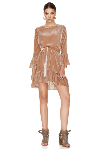 Beige Velvet Mini Dress