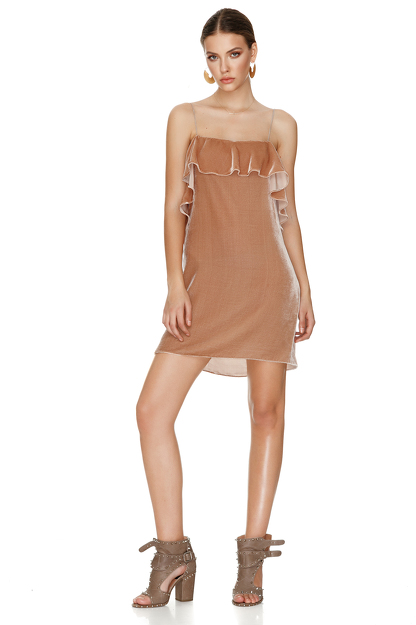 Beige Velvet Backless Mini Dress