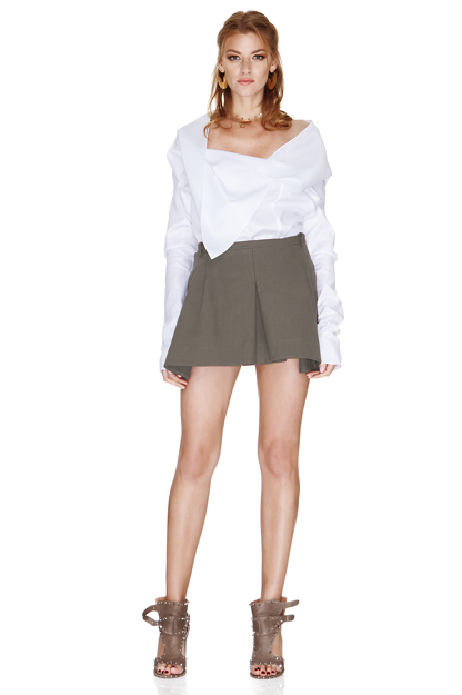 White Shirt With Asymmetric Collar
