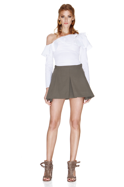 White One Shoulder Shirt With Ruffles