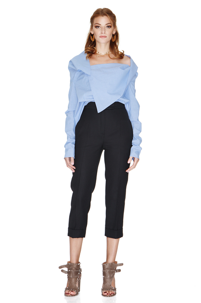 Blue Shirt With Asymmetric Collar