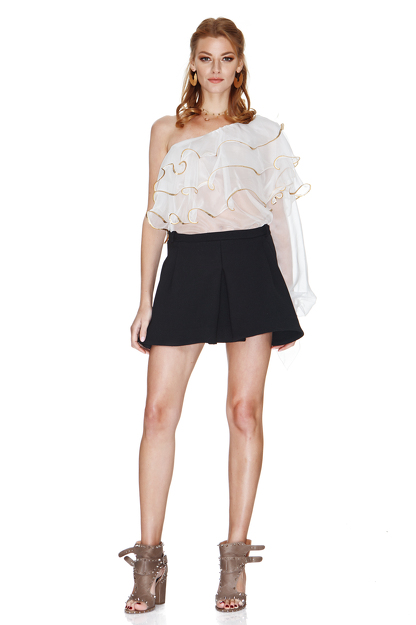 White Silk Chiffon One Shoulder Blouse