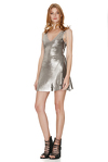 Silver Sequins Mini Dress With Silk Detailing