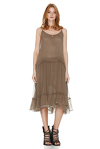 Light Brown Silk Midi Dress With Sequins