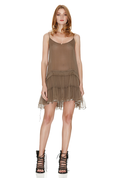 Light Brown Silk Mini Dress With Sequins