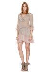 Beige Silk Ruffled Dress With Pink Details