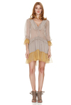 Beige Silk Ruffled Dress With Yellow Details