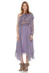 Lavender Silk Chiffon One Shoulder Midi Dress