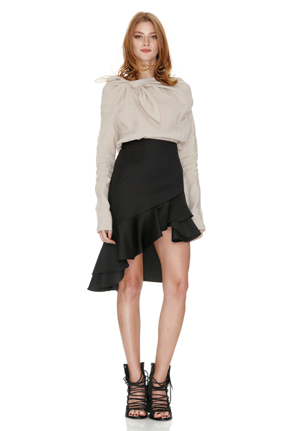 Beige Shirt With Asymmetric Collar
