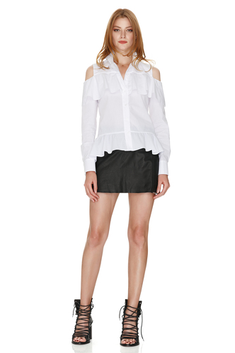 White Shirt With Ruffles - PNK Casual