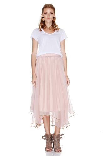 Rose Silk Chiffon Midi Skirt - PNK Casual