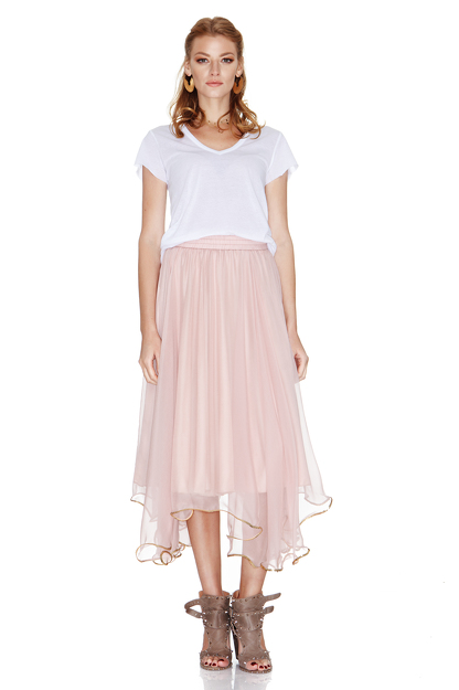 Rose Silk Chiffon Midi Skirt