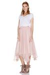 Rose Silk Chiffon Midi Skirt
