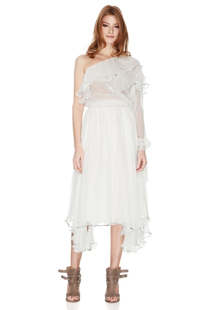 White Silk Chiffon One Shoulder Midi Dress