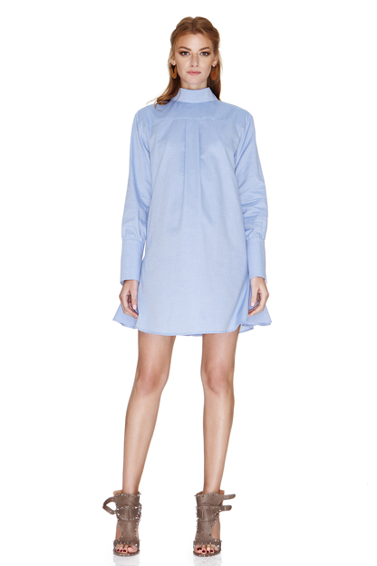 Blue Cotton Mini Dress