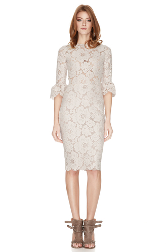 Beige Pink Floral Lace Slim Dress - PNK Casual