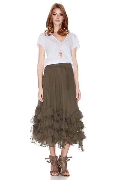 Kaki Silk Chiffon Midi Skirt