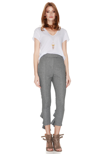 Grey Pants With Ruffles - PNK Casual