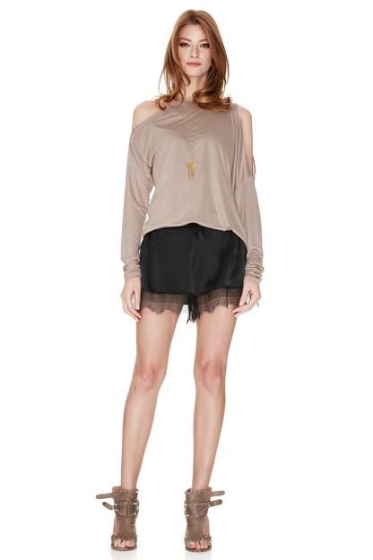 Beige Asymmetric Jersey Blouse