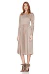 Beige Jersey Flared Midi Dress