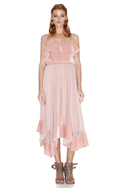 Pink Silk Chiffon and Velvet Midi Dress