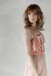 Pink Silk Chiffon and Velvet Midi Dress