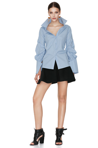 Blue Cotton Shirt With Sleeve Details - PNK Casual