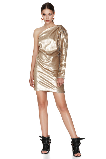 Gold Sequins One Shoulder Mini Dress
