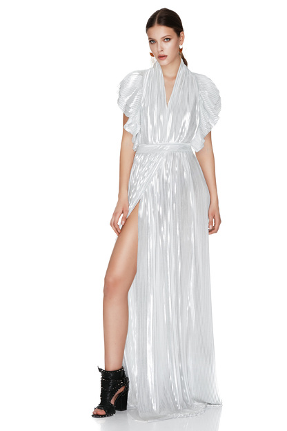 White And Silver Pleated Lamé Maxi Dress