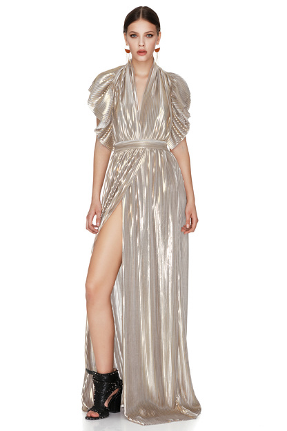 Gold Pleated Lamé Maxi Dress