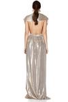 Gold Pleated Lamé Maxi Dress