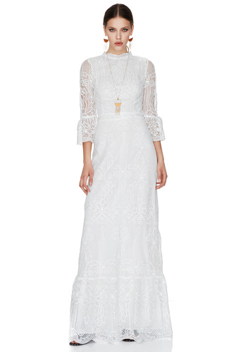 White Crocheted Floral Lace Maxi Dress - PNK Casual